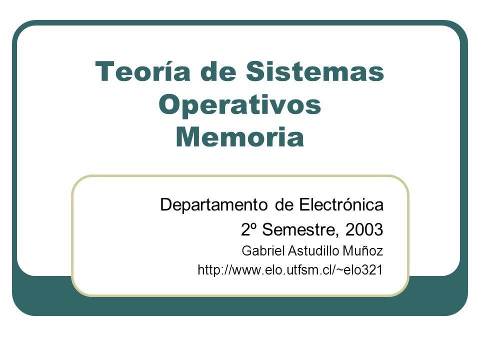 Teoría de Sistemas Operativos Memoria Departamento de Electrónica 2º Semestre, 2003 Gabriel Astudillo Muñoz http://www.elo.utfsm.cl/~elo321
