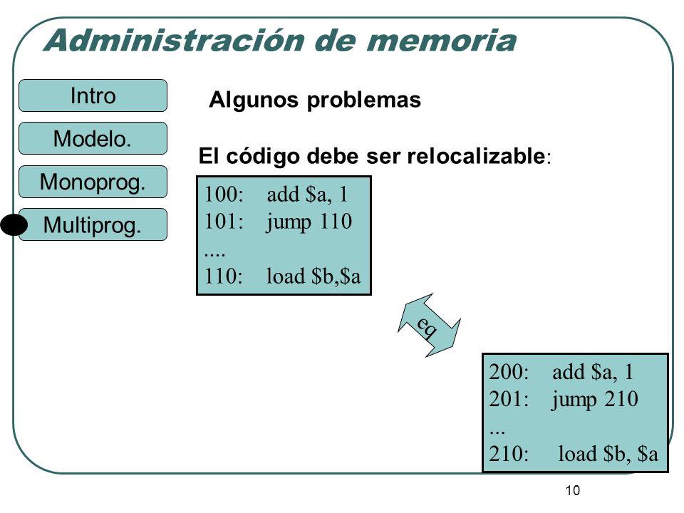 Intro Administración de memoria Monoprog. Modelo. Multiprog. 10 Algunos problemas El código debe ser relocalizable : 100: add $a, 1 101: jump 110....