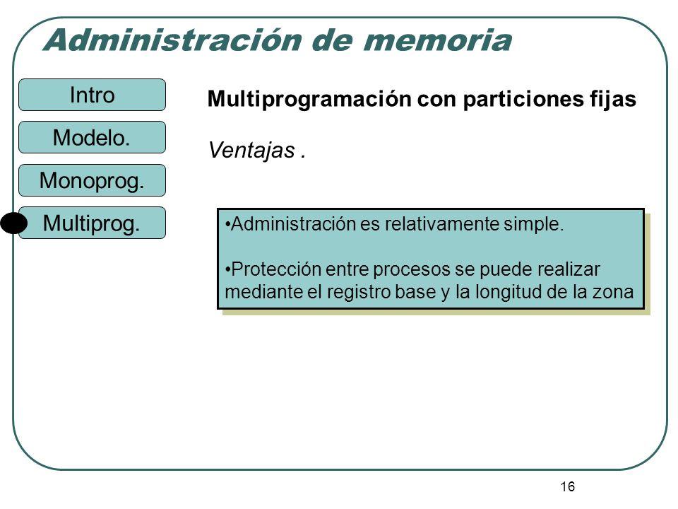 Intro Administración de memoria Monoprog. Modelo. Multiprog. 16 Multiprogramación con particiones fijas Administración es relativamente simple. Protec