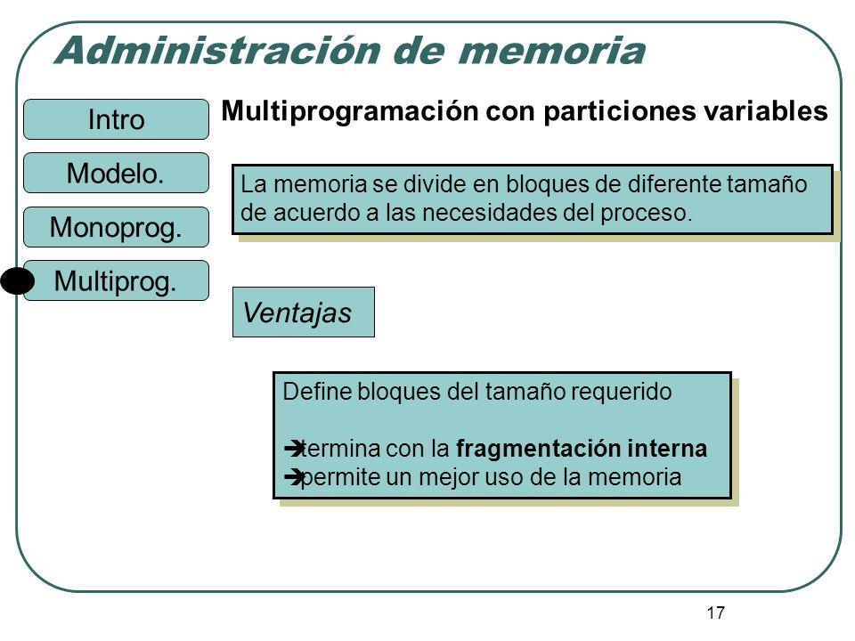 Intro Administración de memoria Monoprog. Modelo. Multiprog. 17 Multiprogramación con particiones variables La memoria se divide en bloques de diferen