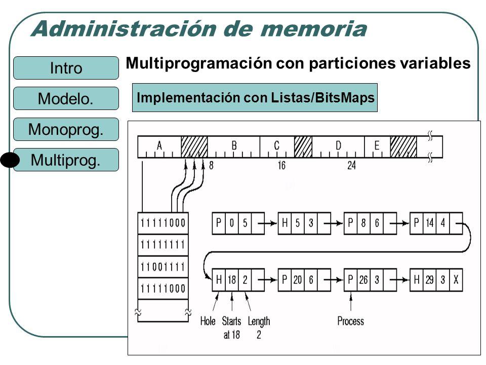 Intro Administración de memoria Monoprog. Modelo. Multiprog. 19 Implementación con Listas/BitsMaps Multiprogramación con particiones variables