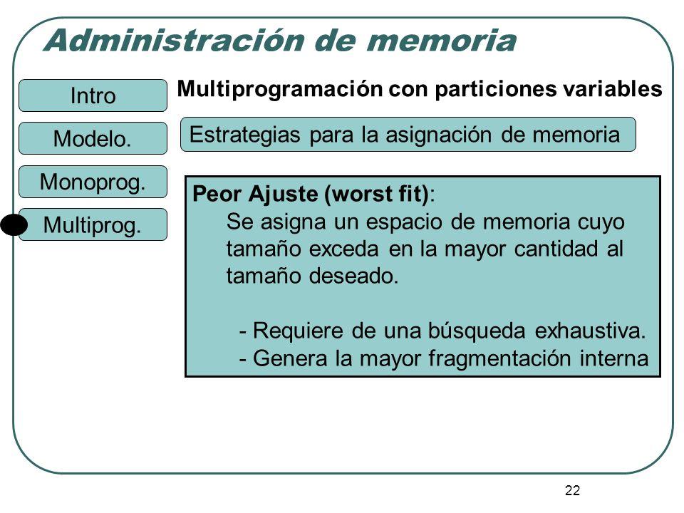 Intro Administración de memoria Monoprog. Modelo. Multiprog. 22 Multiprogramación con particiones variables Peor Ajuste (worst fit): Se asigna un espa