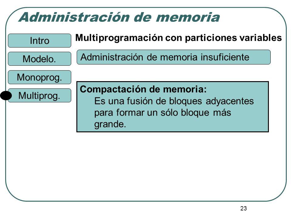 Intro Administración de memoria Monoprog. Modelo. Multiprog. 23 Multiprogramación con particiones variables Compactación de memoria: Es una fusión de