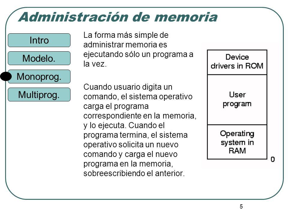 Intro Administración de memoria Monoprog. Modelo. Multiprog. 5 La forma más simple de administrar memoria es ejecutando sólo un programa a la vez. Cua