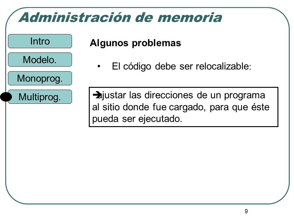 Intro Administración de memoria Monoprog. Modelo. Multiprog. 9 Algunos problemas El código debe ser relocalizable : ajustar las direcciones de un prog