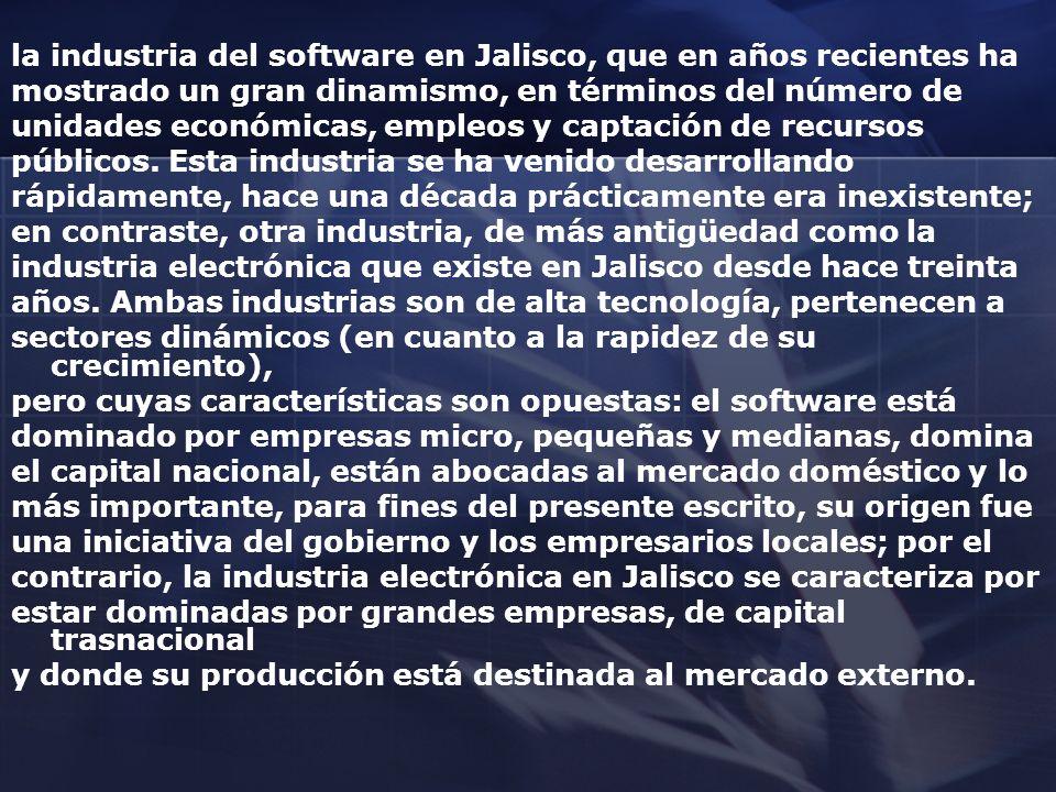 la industria del software en Jalisco, que en años recientes ha mostrado un gran dinamismo, en términos del número de unidades económicas, empleos y ca