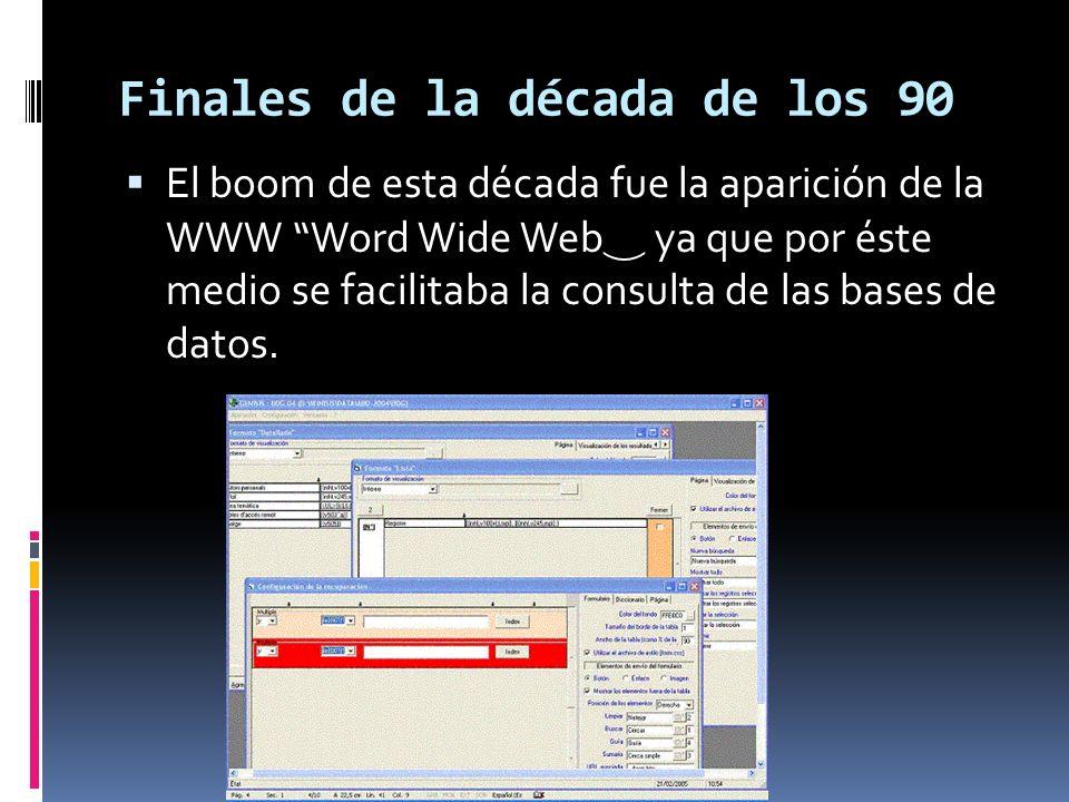 Principios década de los 90 Para la toma de decisiones se crea el lenguaje SQL, que es un lenguaje programado para consultas.