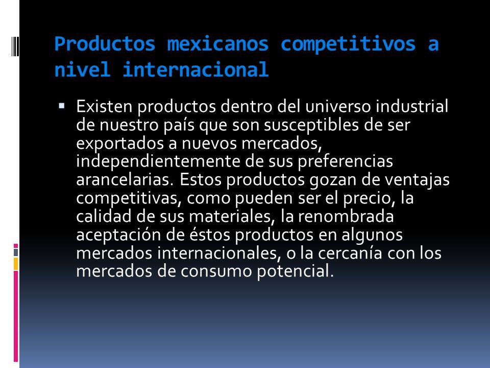 Productos mexicanos competitivos a nivel internacional Existen productos dentro del universo industrial de nuestro país que son susceptibles de ser ex