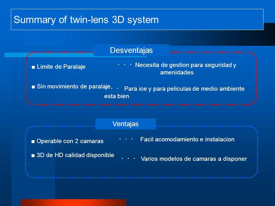 Summary of twin-lens 3D system Limite de Paralaje Sin movimiento de paralaje Desventajas Ventajas Necesita de gestion para seguridad y amenidades Para ice y para peliculas de medio ambiente esta bien Facil acomodamiento e instalacion Varios modelos de camaras a disponer Operable con 2 camaras 3D de HD calidad disponible