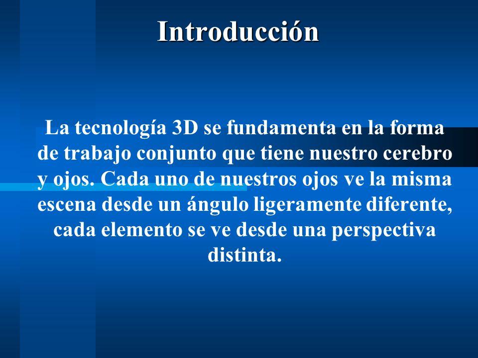 Introducción La tecnología 3D se fundamenta en la forma de trabajo conjunto que tiene nuestro cerebro y ojos.