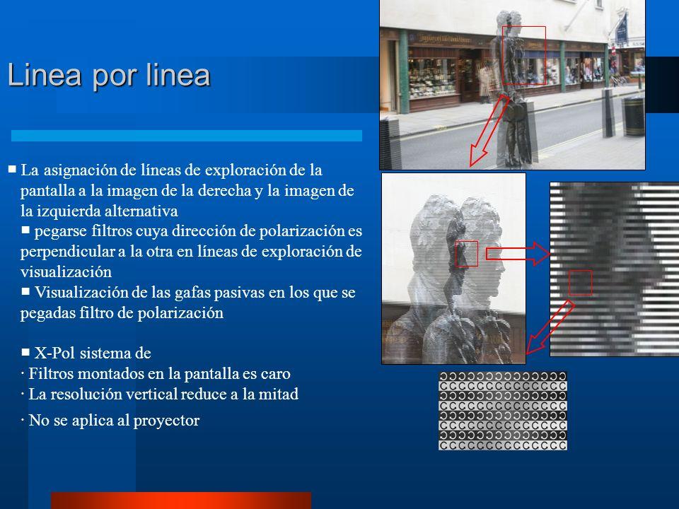 Linea por linea La asignación de líneas de exploración de la pantalla a la imagen de la derecha y la imagen de la izquierda alternativa pegarse filtros cuya dirección de polarización es perpendicular a la otra en líneas de exploración de visualización Visualización de las gafas pasivas en los que se pegadas filtro de polarización X-Pol sistema de · Filtros montados en la pantalla es caro · La resolución vertical reduce a la mitad · No se aplica al proyector