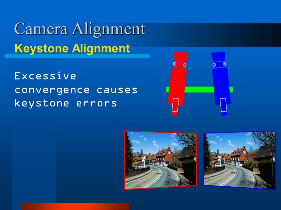 Camera Alignment Keystone Alignment Excessive convergence causes keystone errors