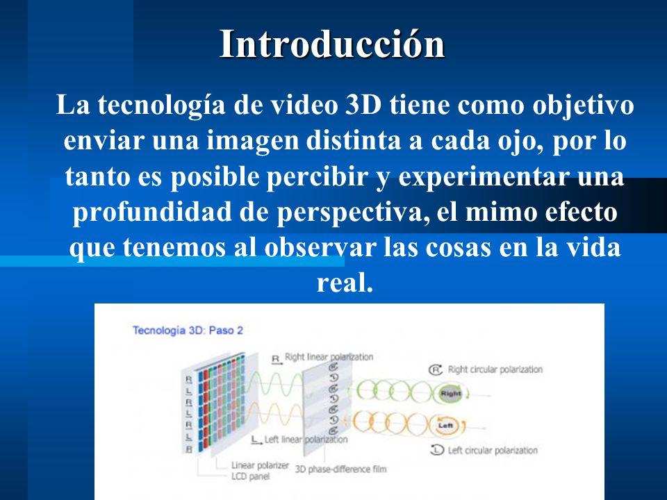 La tecnología de video 3D tiene como objetivo enviar una imagen distinta a cada ojo, por lo tanto es posible percibir y experimentar una profundidad de perspectiva, el mimo efecto que tenemos al observar las cosas en la vida real.Introducción