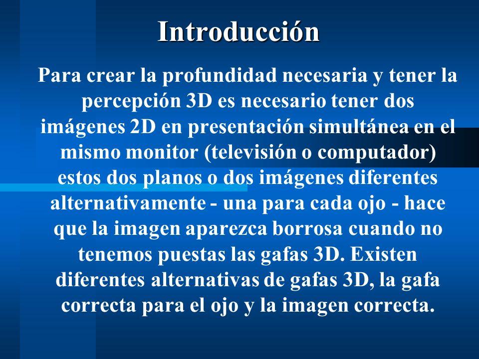 Para crear la profundidad necesaria y tener la percepción 3D es necesario tener dos imágenes 2D en presentación simultánea en el mismo monitor (televisión o computador) estos dos planos o dos imágenes diferentes alternativamente - una para cada ojo - hace que la imagen aparezca borrosa cuando no tenemos puestas las gafas 3D.