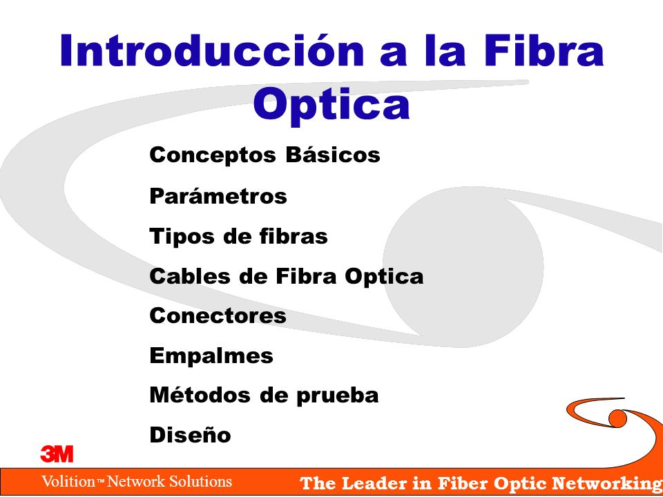Volition Network Solutions The Leader in Fiber Optic Networking Conceptos Básicos Parámetros Tipos de fibras Cables de Fibra Optica Conectores Empalme