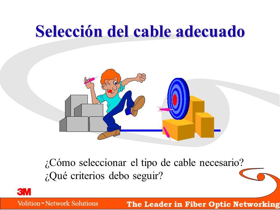 Volition Network Solutions The Leader in Fiber Optic Networking Selección del cable adecuado ¿Cómo seleccionar el tipo de cable necesario? ¿Qué criter