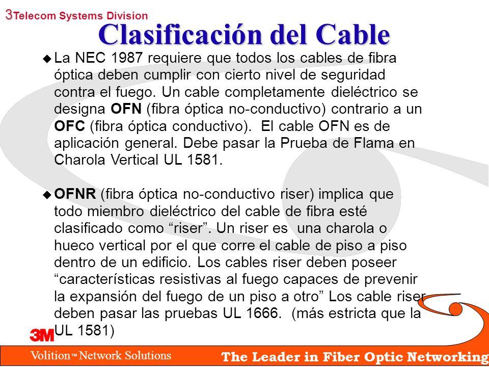 Volition Network Solutions The Leader in Fiber Optic Networking Clasificación del Cable u La NEC 1987 requiere que todos los cables de fibra óptica de