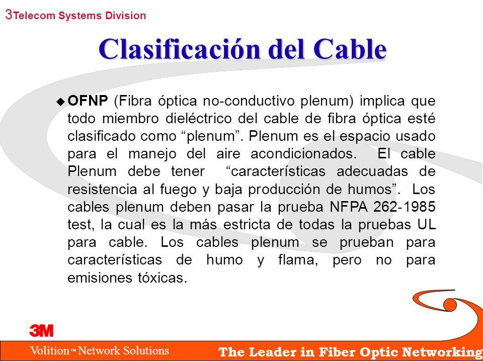 Volition Network Solutions The Leader in Fiber Optic Networking Clasificación del Cable u OFNP (Fibra óptica no-conductivo plenum) implica que todo mi