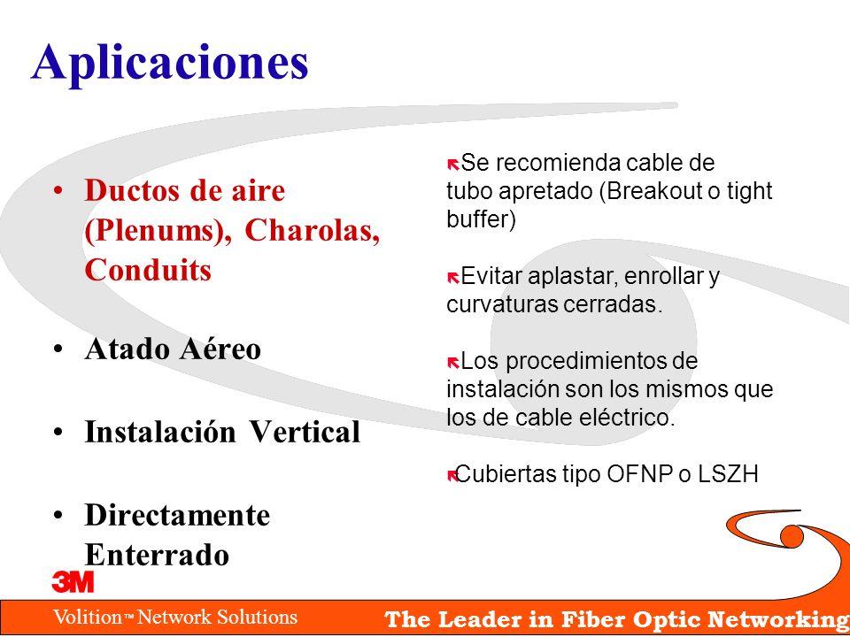 Volition Network Solutions The Leader in Fiber Optic Networking Aplicaciones Ductos de aire (Plenums), Charolas, Conduits Atado Aéreo Instalación Vert