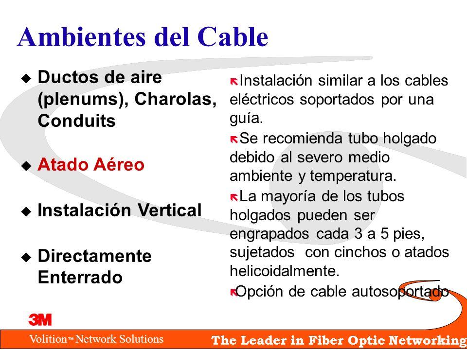 Volition Network Solutions The Leader in Fiber Optic Networking Ambientes del Cable ë Instalación similar a los cables eléctricos soportados por una g