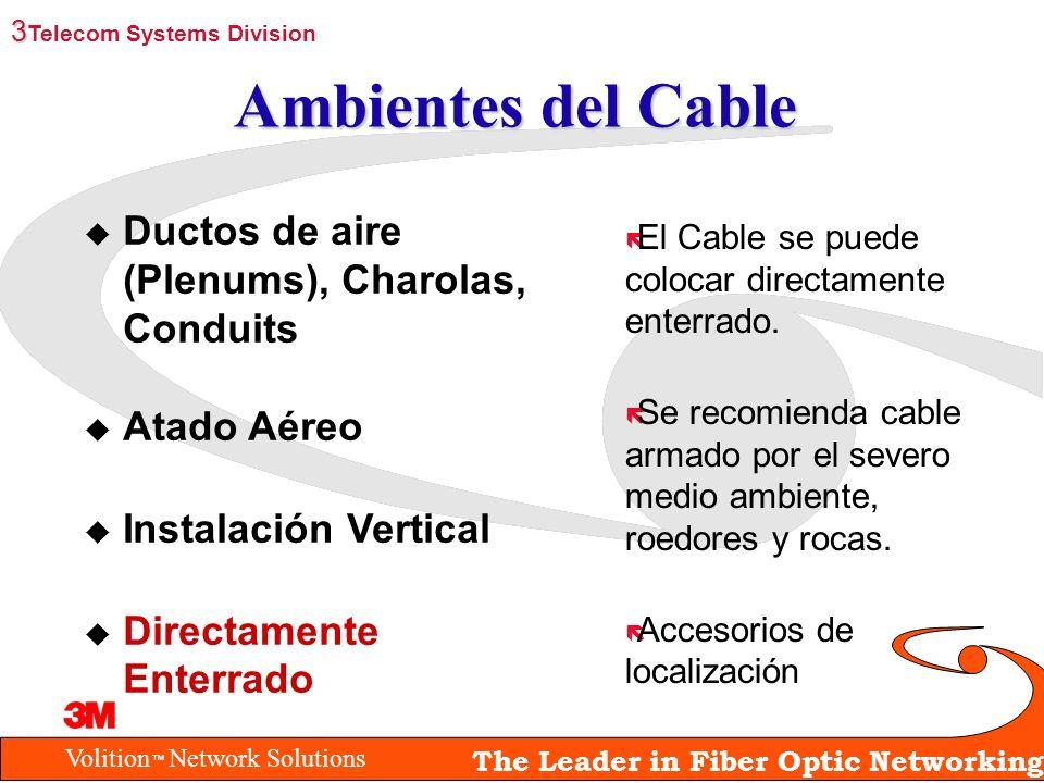 Volition Network Solutions The Leader in Fiber Optic Networking Ambientes del Cable ë El Cable se puede colocar directamente enterrado. ë Se recomiend