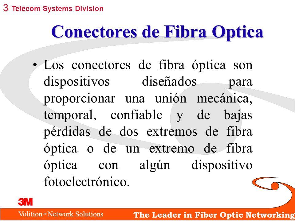 Volition Network Solutions The Leader in Fiber Optic Networking Conectores de Fibra Optica Los conectores de fibra óptica son dispositivos diseñados p