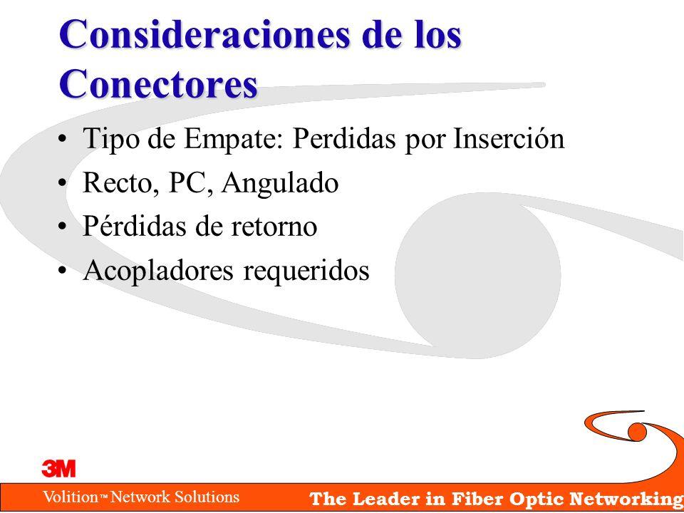 Volition Network Solutions The Leader in Fiber Optic Networking Consideraciones de los Conectores Tipo de Empate: Perdidas por Inserción Recto, PC, An