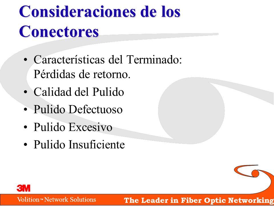 Volition Network Solutions The Leader in Fiber Optic Networking Consideraciones de los Conectores Características del Terminado: Pérdidas de retorno.