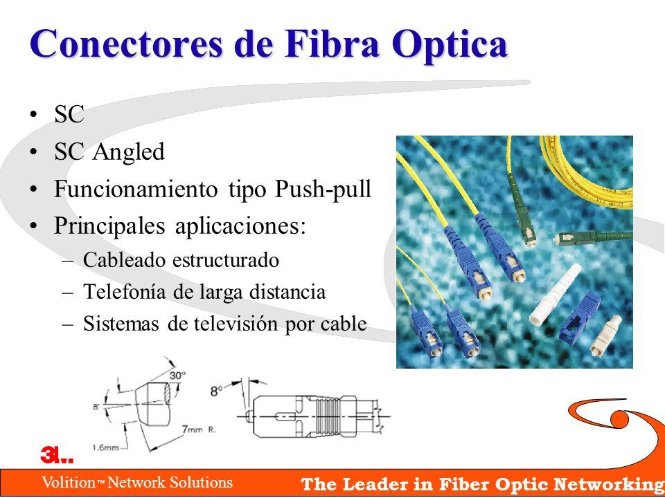 Volition Network Solutions The Leader in Fiber Optic Networking Conectores de Fibra Optica SC SC Angled Funcionamiento tipo Push-pull Principales apli
