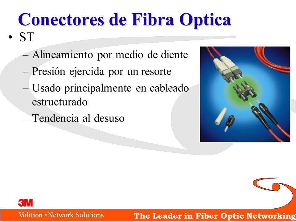 Volition Network Solutions The Leader in Fiber Optic Networking Conectores de Fibra Optica ST –Alineamiento por medio de diente –Presión ejercida por