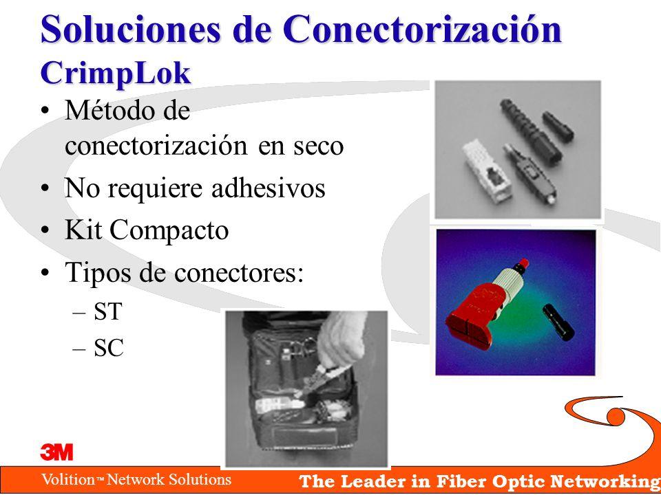Volition Network Solutions The Leader in Fiber Optic Networking Soluciones de Conectorización CrimpLok Método de conectorización en seco No requiere a
