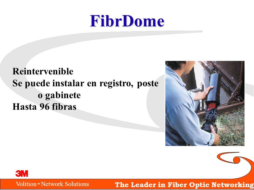 Volition Network Solutions The Leader in Fiber Optic Networking FibrDome Reintervenible Se puede instalar en registro, poste o gabinete Hasta 96 fibra