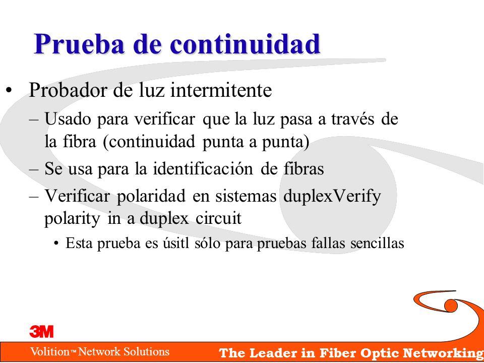 Volition Network Solutions The Leader in Fiber Optic Networking Prueba de continuidad Probador de luz intermitente –Usado para verificar que la luz pa
