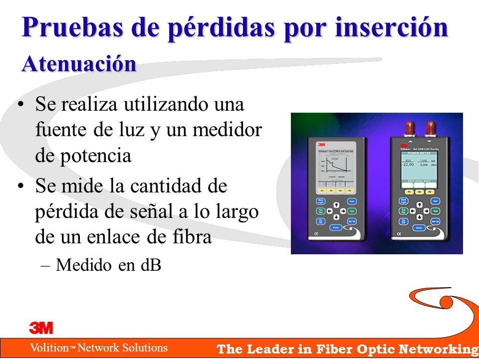 Volition Network Solutions The Leader in Fiber Optic Networking Pruebas de pérdidas por inserción Atenuación Se realiza utilizando una fuente de luz y
