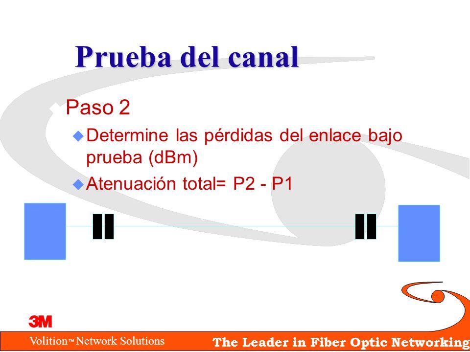 Volition Network Solutions The Leader in Fiber Optic Networking Prueba del canal u Paso 2 u Determine las pérdidas del enlace bajo prueba (dBm) u Aten
