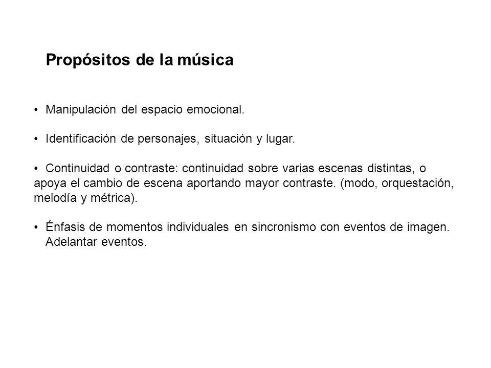 Propósitos de la música Manipulación del espacio emocional. Identificación de personajes, situación y lugar. Continuidad o contraste: continuidad sobr