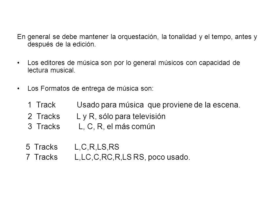 En general se debe mantener la orquestación, la tonalidad y el tempo, antes y después de la edición. Los editores de música son por lo general músicos