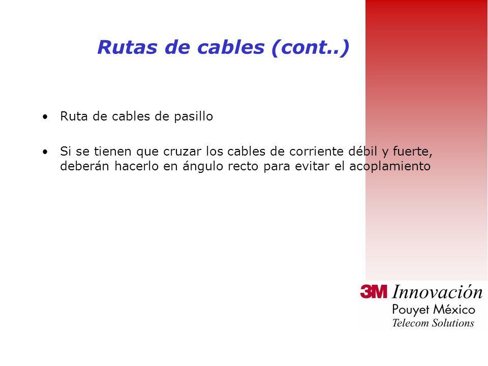 Rutas de cables Para reducir el riesgo de perturbaciones elecromagnéticas : Las rutas de cables deben instalarse al menos a 2 m de distancia de los as