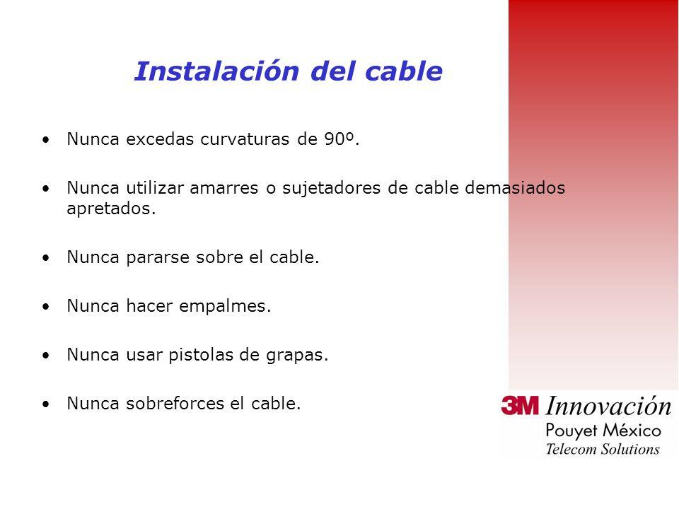 Guarda el cable no utilizado en áreas libre de humedad Hacer todas las conexiones a traves de patch-paneles y regletas Evita al máximo las interferenc