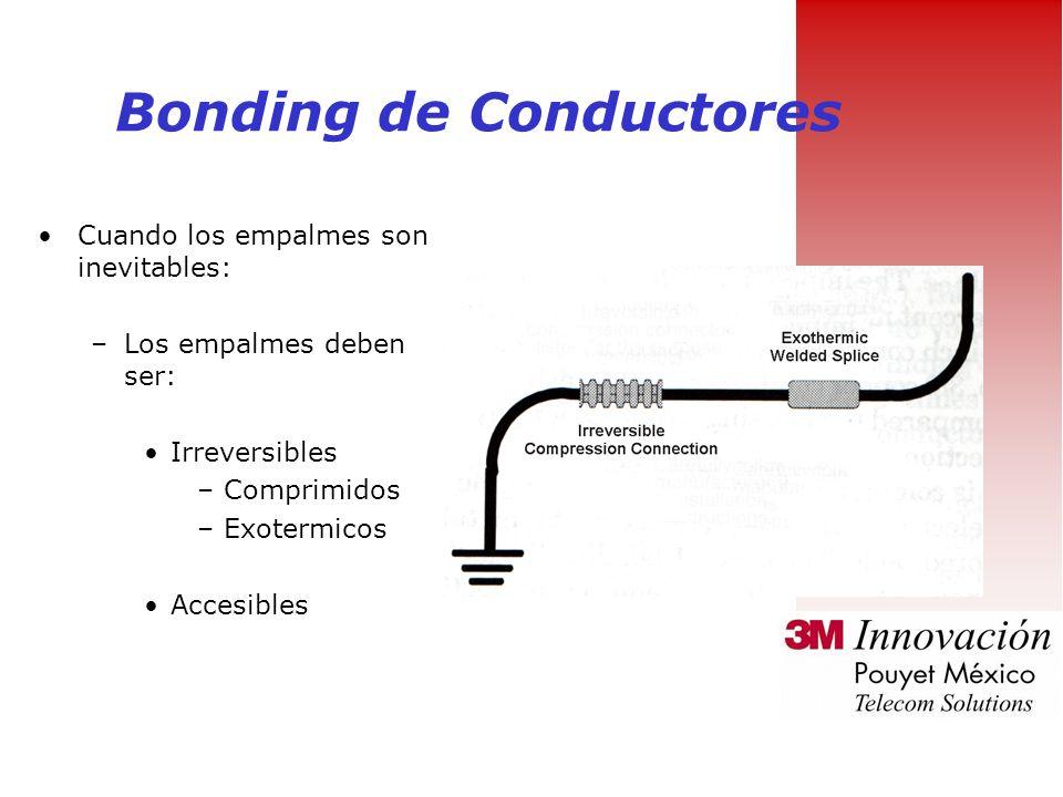 Bonding de Conductores Bonding de conductores: –Calibre minimo de 6 AWG –Debe ser de cobre –De color verde y con aislante –Mantenerlo corto y lo mas f