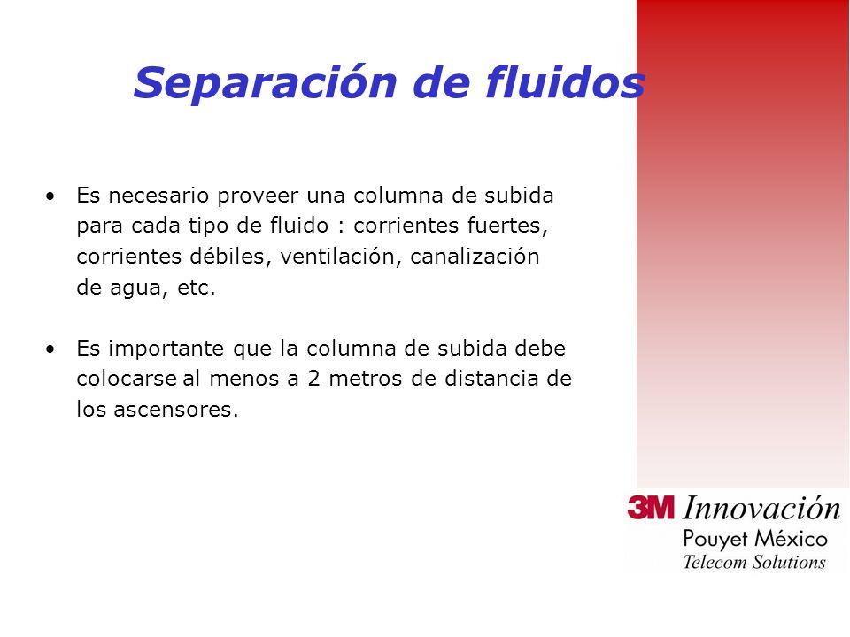 Separación de fluidos Es necesario proveer una columna de subida para cada tipo de fluido : corrientes fuertes, corrientes débiles, ventilación, canalización de agua, etc.