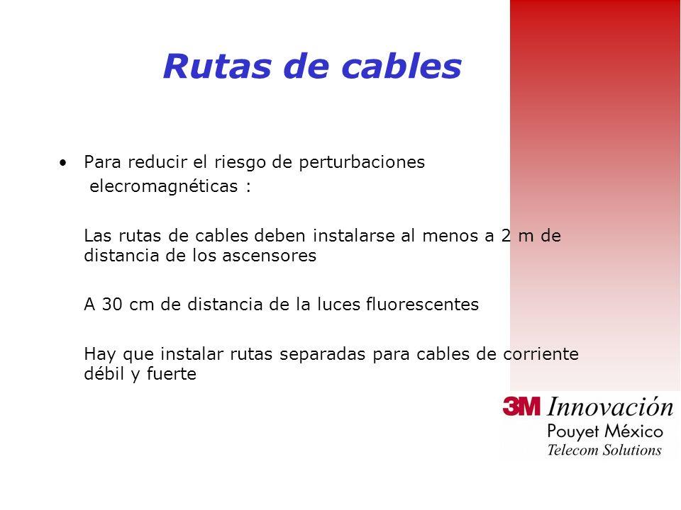 Rutas de cables Para reducir el riesgo de perturbaciones elecromagnéticas : Las rutas de cables deben instalarse al menos a 2 m de distancia de los ascensores A 30 cm de distancia de la luces fluorescentes Hay que instalar rutas separadas para cables de corriente débil y fuerte