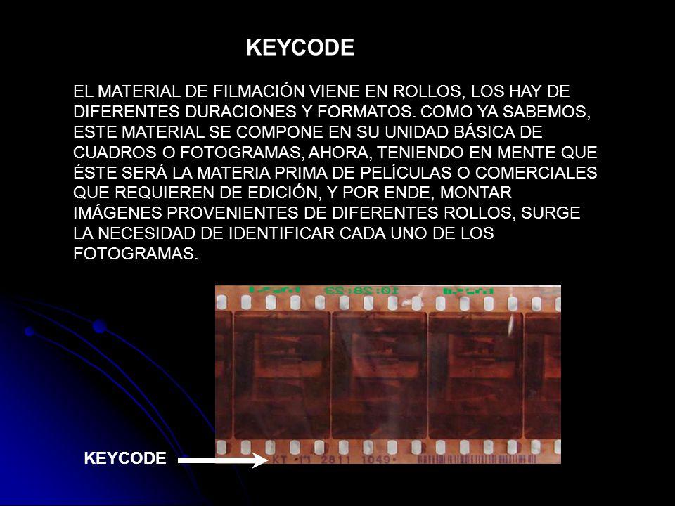 KEYCODE EL MATERIAL DE FILMACIÓN VIENE EN ROLLOS, LOS HAY DE DIFERENTES DURACIONES Y FORMATOS. COMO YA SABEMOS, ESTE MATERIAL SE COMPONE EN SU UNIDAD