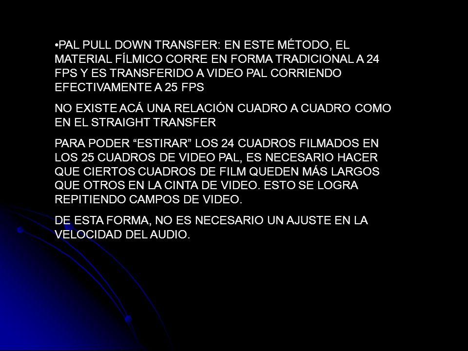 PAL PULL DOWN TRANSFER: EN ESTE MÉTODO, EL MATERIAL FÍLMICO CORRE EN FORMA TRADICIONAL A 24 FPS Y ES TRANSFERIDO A VIDEO PAL CORRIENDO EFECTIVAMENTE A