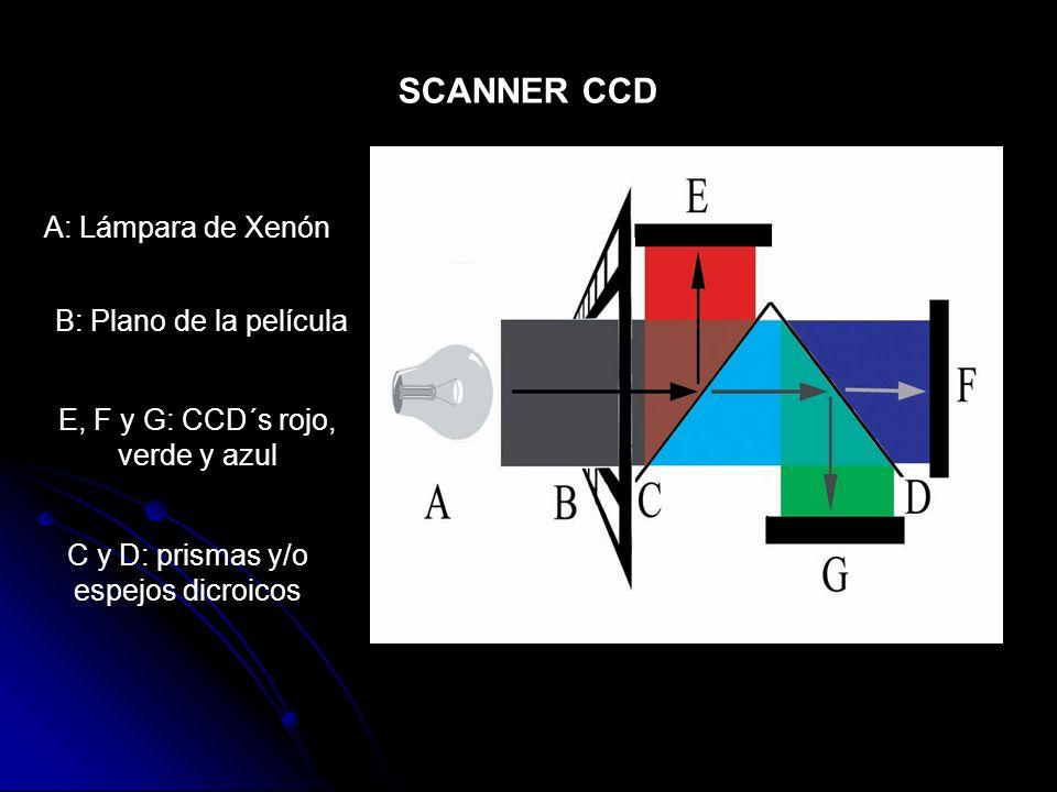 SCANNER CCD A: Lámpara de Xenón B: Plano de la película C y D: prismas y/o espejos dicroicos E, F y G: CCD´s rojo, verde y azul