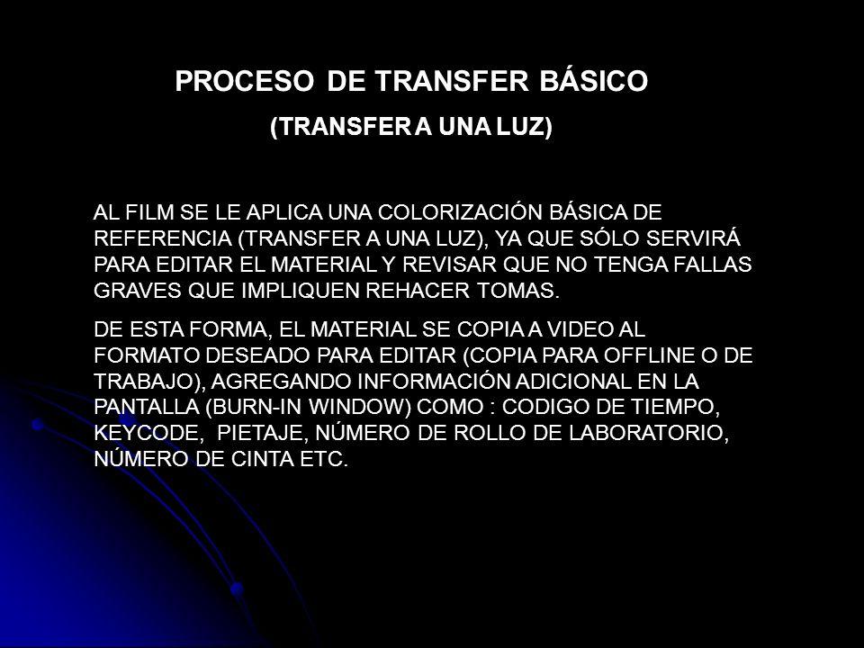 PROCESO DE TRANSFER BÁSICO (TRANSFER A UNA LUZ) AL FILM SE LE APLICA UNA COLORIZACIÓN BÁSICA DE REFERENCIA (TRANSFER A UNA LUZ), YA QUE SÓLO SERVIRÁ P
