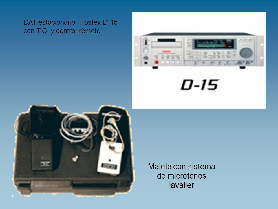 Maleta con sistema de micrófonos lavalier DAT estacionario Fostex D-15 con T.C. y control remoto