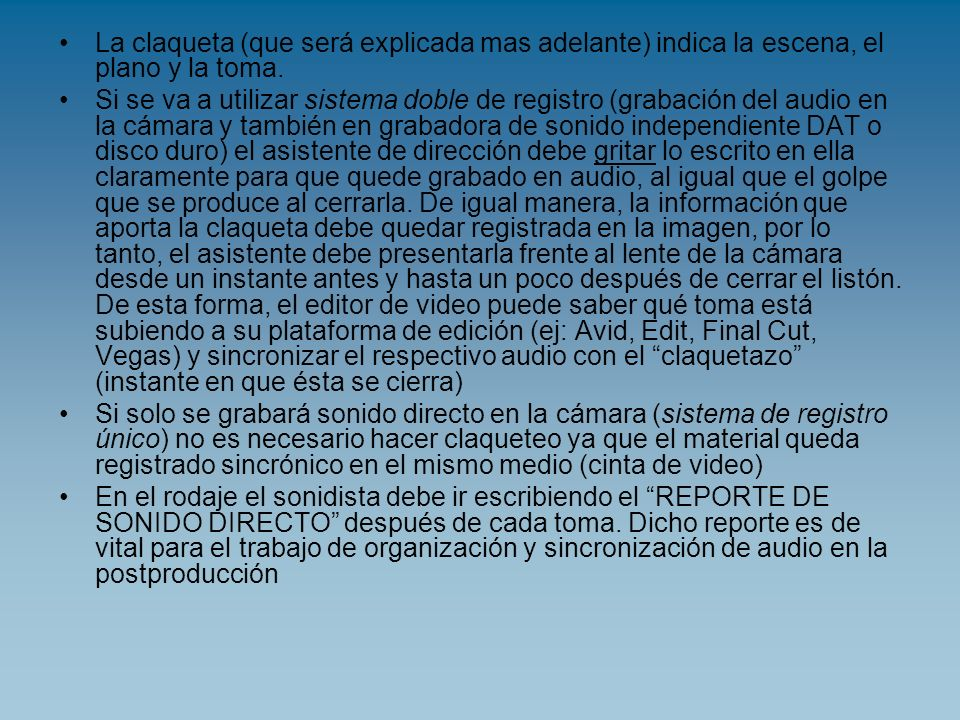 Reporte de sonido directo PARTE DE GRABACIÓN DE SONIDO.