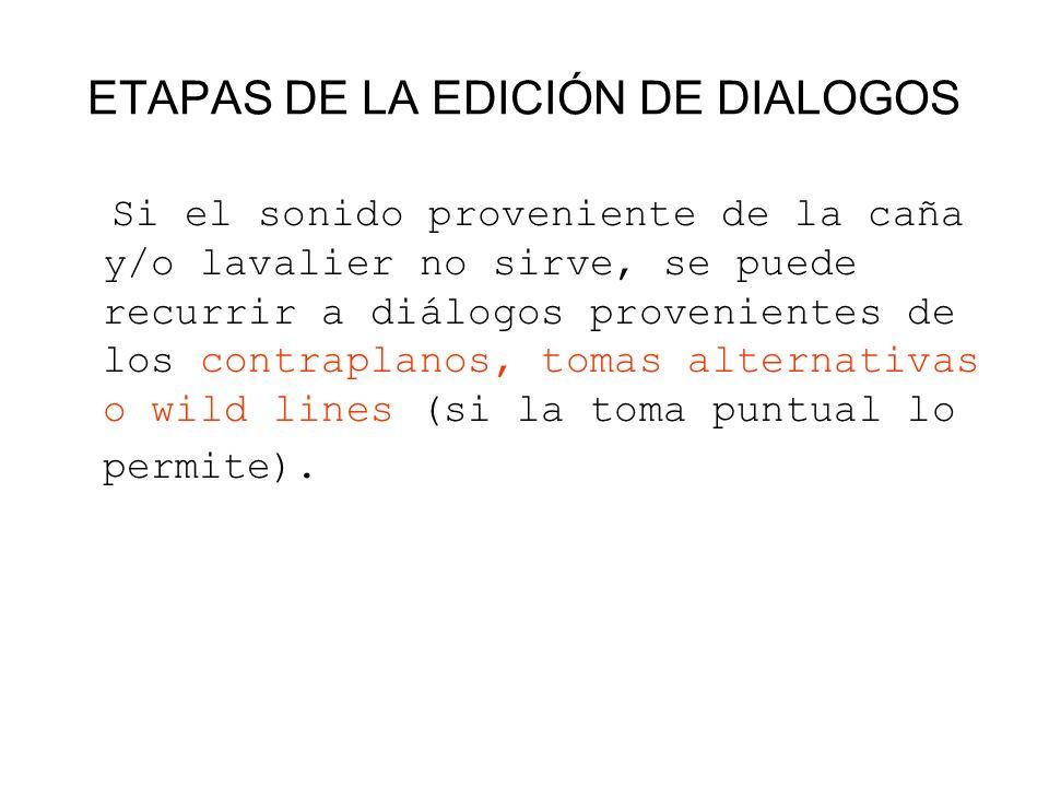 ETAPAS DE LA EDICIÓN DE DIALOGOS Si el sonido proveniente de la caña y/o lavalier no sirve, se puede recurrir a diálogos provenientes de los contrapla