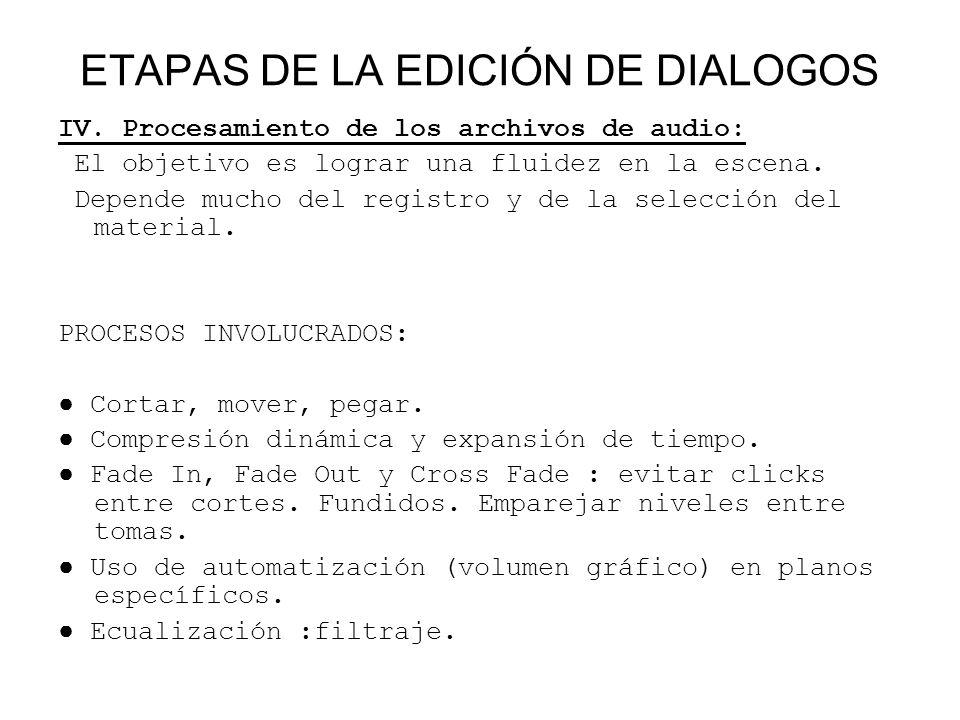 ETAPAS DE LA EDICIÓN DE DIALOGOS IV. Procesamiento de los archivos de audio: El objetivo es lograr una fluidez en la escena. Depende mucho del registr
